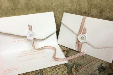 Matrimonio - Partecipazione di nozze in carta di Amalfi