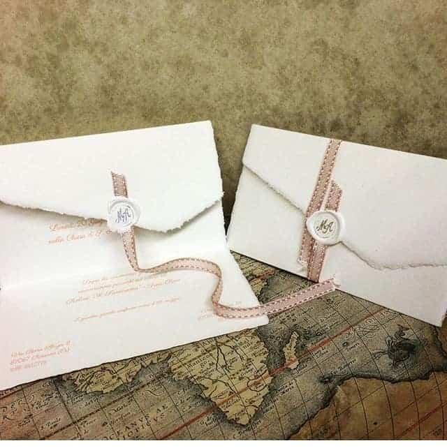Partecipazione di nozze in carta di Amalfi