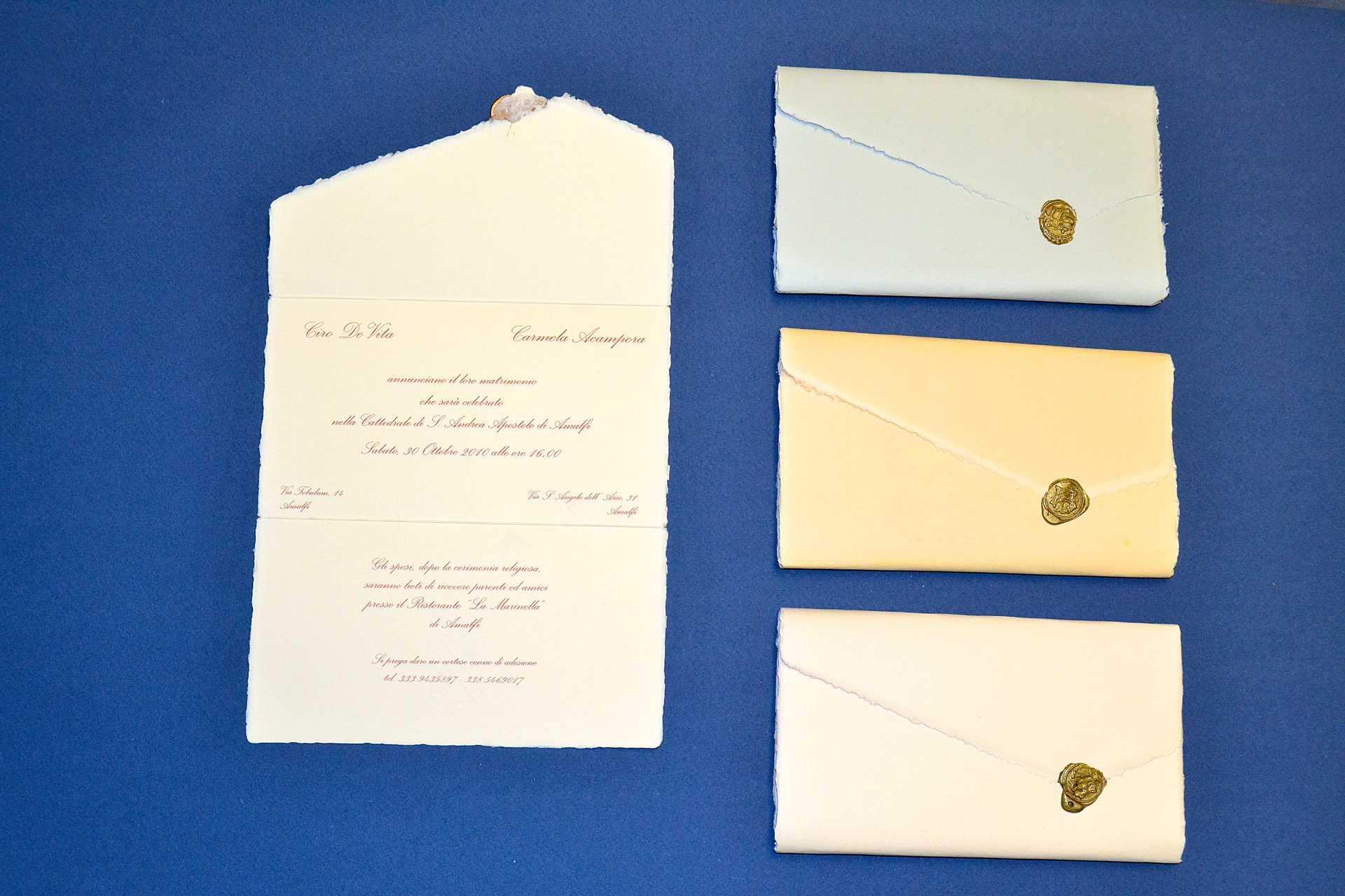 Partecipazioni Matrimonio Carta Amalfi.Partecipazioni Di Nozze Lr Colorate Amalfi Tabula